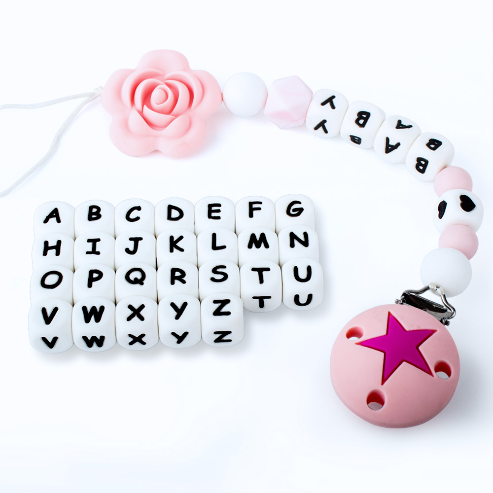 Keep&grow 10Pcs Silicone English Alphabet Beads Letter BPA Free Material For DIY Baby Teething Necklace Baby Teether  Free Ship