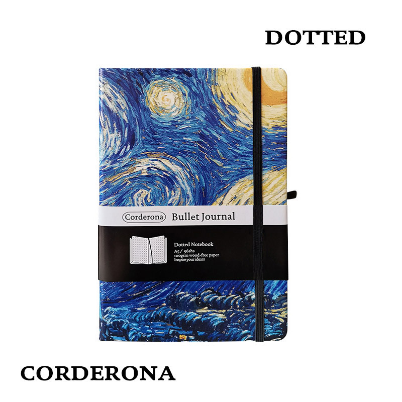 Dot Grid Hard Cover A5 Van Gogh Painting Starry Night Bullet Notebook Simple Dotted Journal
