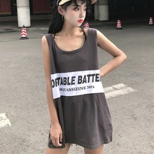 Sleeveless Tank Tops Casual Loose Preppy Style Fashion Ladies Letter Print Womens Camisole Tanks