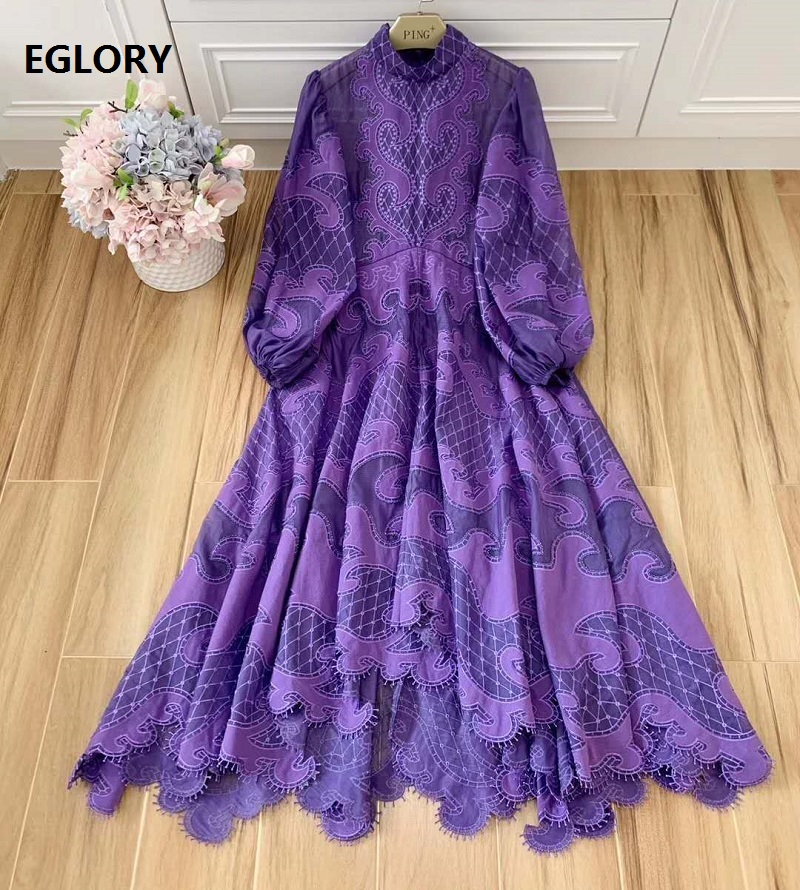 Elegant Back Bow Tie Long Dress 2020 Spring Evening Party Women Appliques Embroidery Long Sleeve Purple White Maxi Dress Luxury