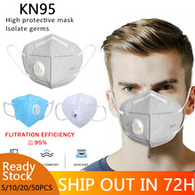 цена на 1/10CPS KN95 Face Mask Windproof Respirator Valve PM 2.5 Respirator Mask with Breath Valve Anti-Dust Pollution Face Mouth Mask