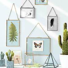 Cadre de Photo suspendu en laiton Antique, cadre en métal et verre, pour Portrait, Vintage, Double face, cadeau, décoration de la maison