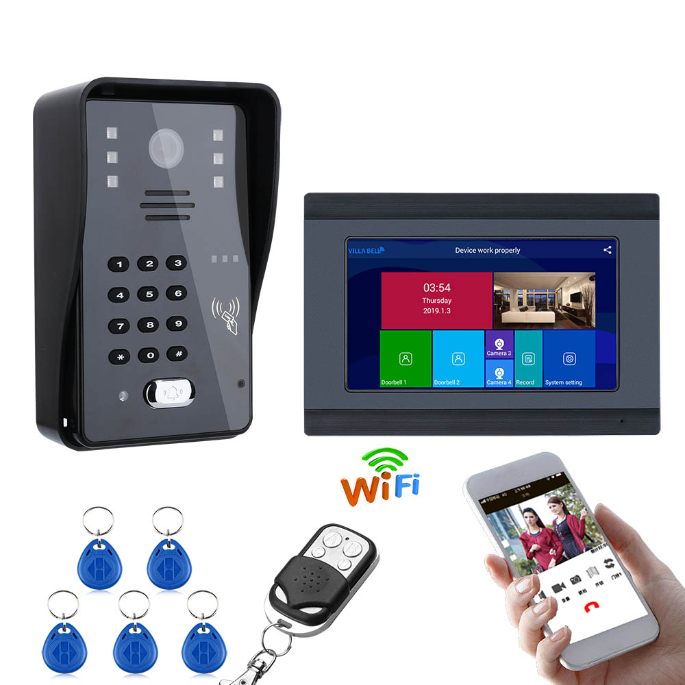 1000TVL Wired Camera Night Vision 7inch Wired / Wireless Wifi RFID Password Video Door Phone Doorbell Intercom Entry System