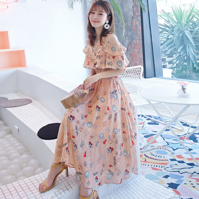 2021 Summer New Chiffon Floral Printed Dress Fashion Temperament Off-shoulder Ruffled Sleeves Long Dresses Female LR1435 5
