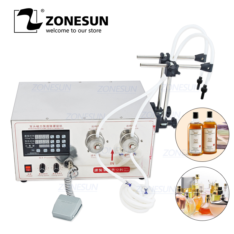 ZONESUN YG2 Magnetic Pump Electric 2 Heads Soft Drink Essential Oil Ethanol Alcohol Bottle Liquid Filling Machine