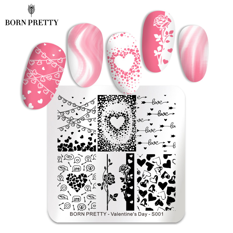 BORN PRETTY Valentine's Day Nail Stamping Plates Lover And Kiss Image Nail Stamp Templates Stainless Steel Nail Art Print Tools