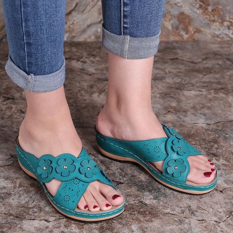Summer Women Slippers Gladiator Flower Shoes Wedges Platform Flip Flops Beach Mules Ladies Slides Casual Sandal Zapatos De Mujer