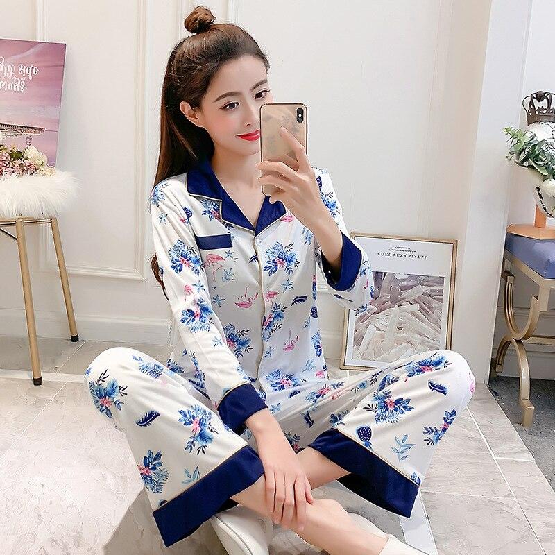 Liang Xing-Autumn & Winter New Style Open Buckle Color Block Pajamas Suit Color Block Flamingo M -Xxl