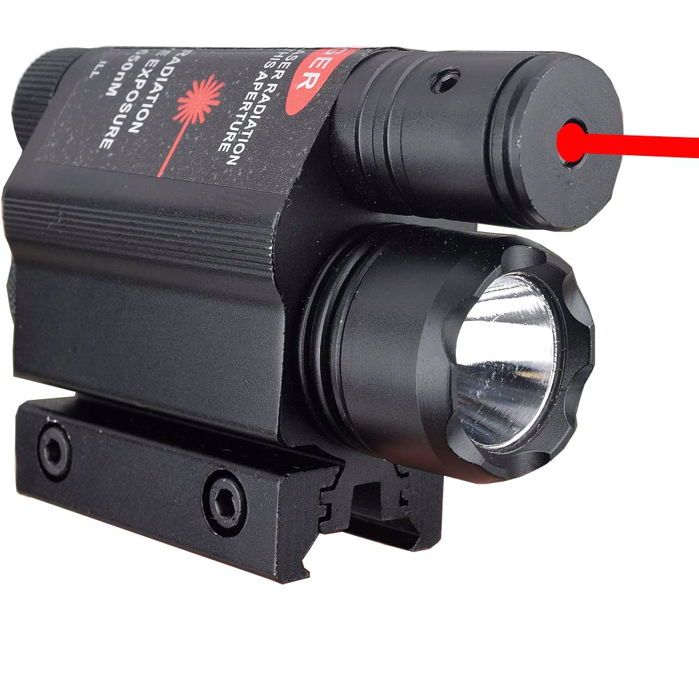 Tactical LED Flashlight Green / Red Laser Sight For 20mm Rail Mini Glock Pistol Gun Light lanterna Airsoft Light-0