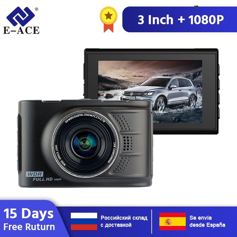 E-ACE Novatek Auto Dvr Mini Kamera Auto Video Recorder Spiegel Camcorder Dash Cam 1080P HD 3,0 Zoll Dvrs Auto carcam Kanzler