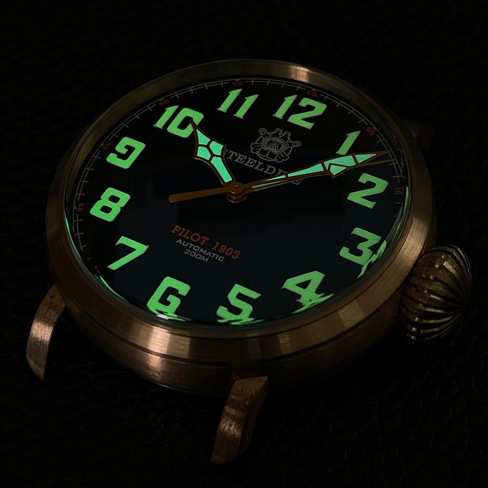 Steeldive sd1903s masculino escovado cusn8 bronze relógio