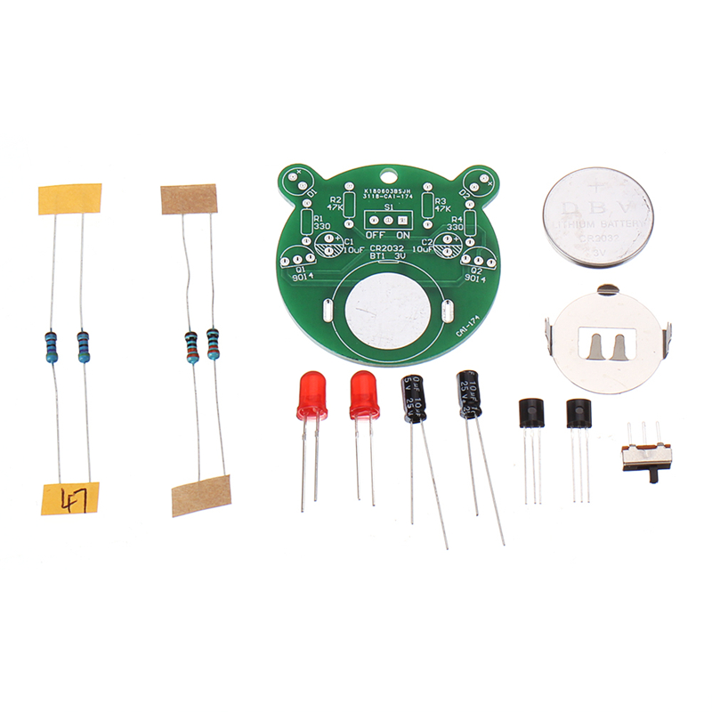 DIY Electronic Kit Set Cartoon Bear LED Flash Light Production Kit Simple Flash Parts DIY Skill Competition Triode Soldering