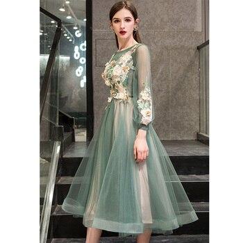 It's Yiiya Evening Dress 2019 Elegant O-Neck Appliques Plus Size Robe De Soiree Applieus Women Party Night Dresses E773 4