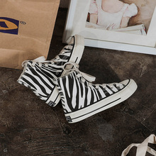 2020 fashion Casual Lace-Up High-Top Female sneakers Zebra print and camouflage women's Thick Bottom
