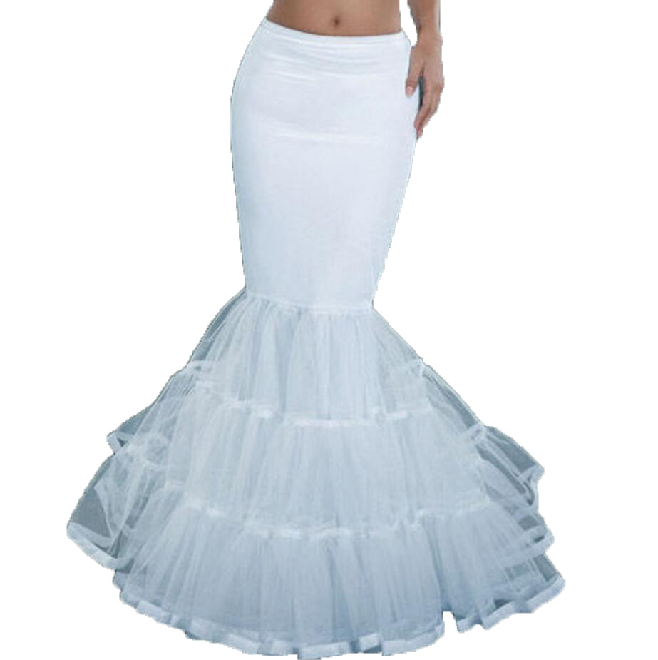 White Mermaid Bridal Crinoline Wedding Hoops Petticoat Slip Ruffle UnderSkirt Fishtail Petticoat For Special Occasion Dress