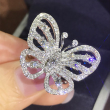 Luxury Silver Butterfly Ring for Women Brilliant Zircon Stone Inlaid Female Elegant Fashion Cocktail Party Jewelry