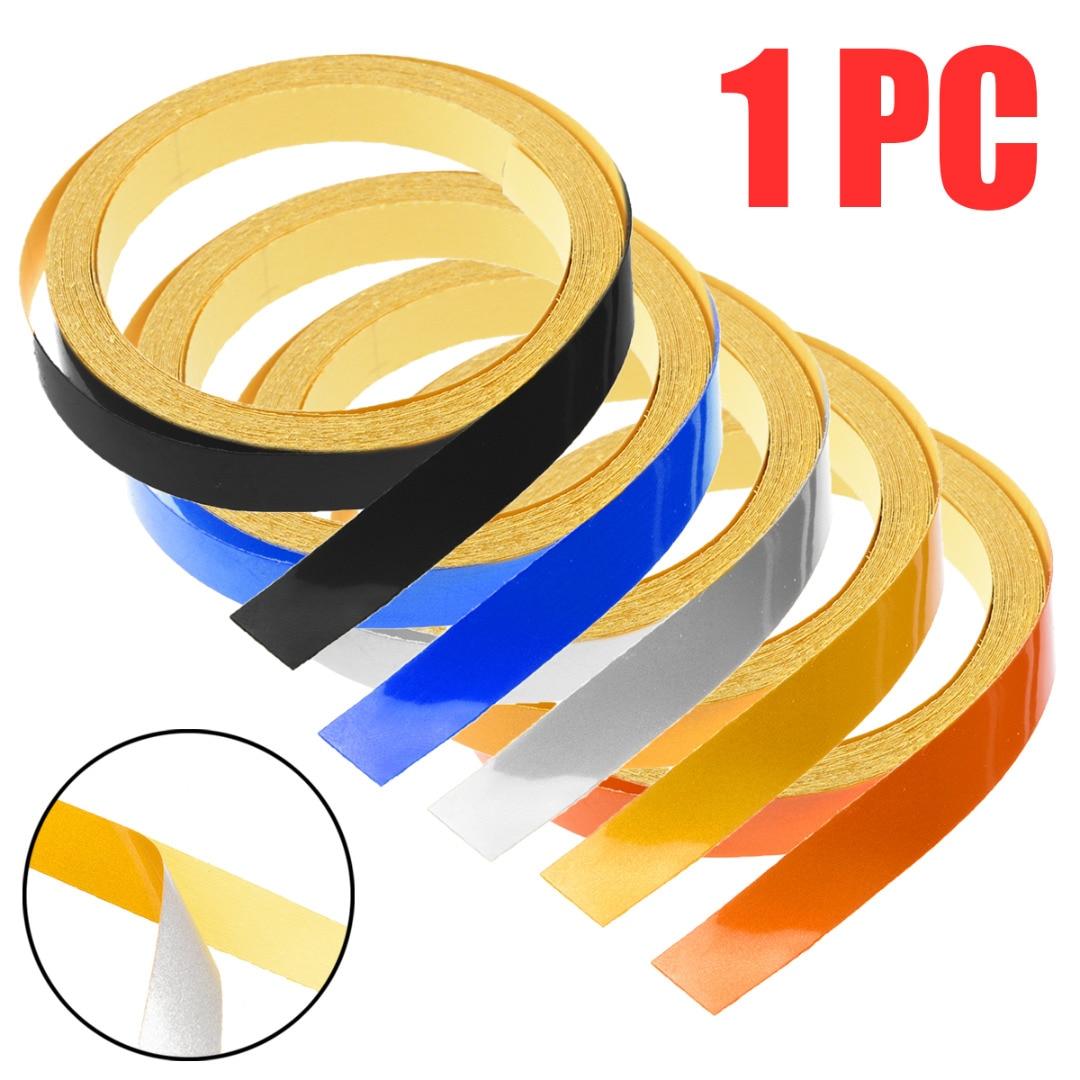 1PC Car DIY Reflective Rim Self-Adhesive Stripe Sticker Tape For Auto Motorcycle Body Wheel Decorative 6 Colors 5M*1CM