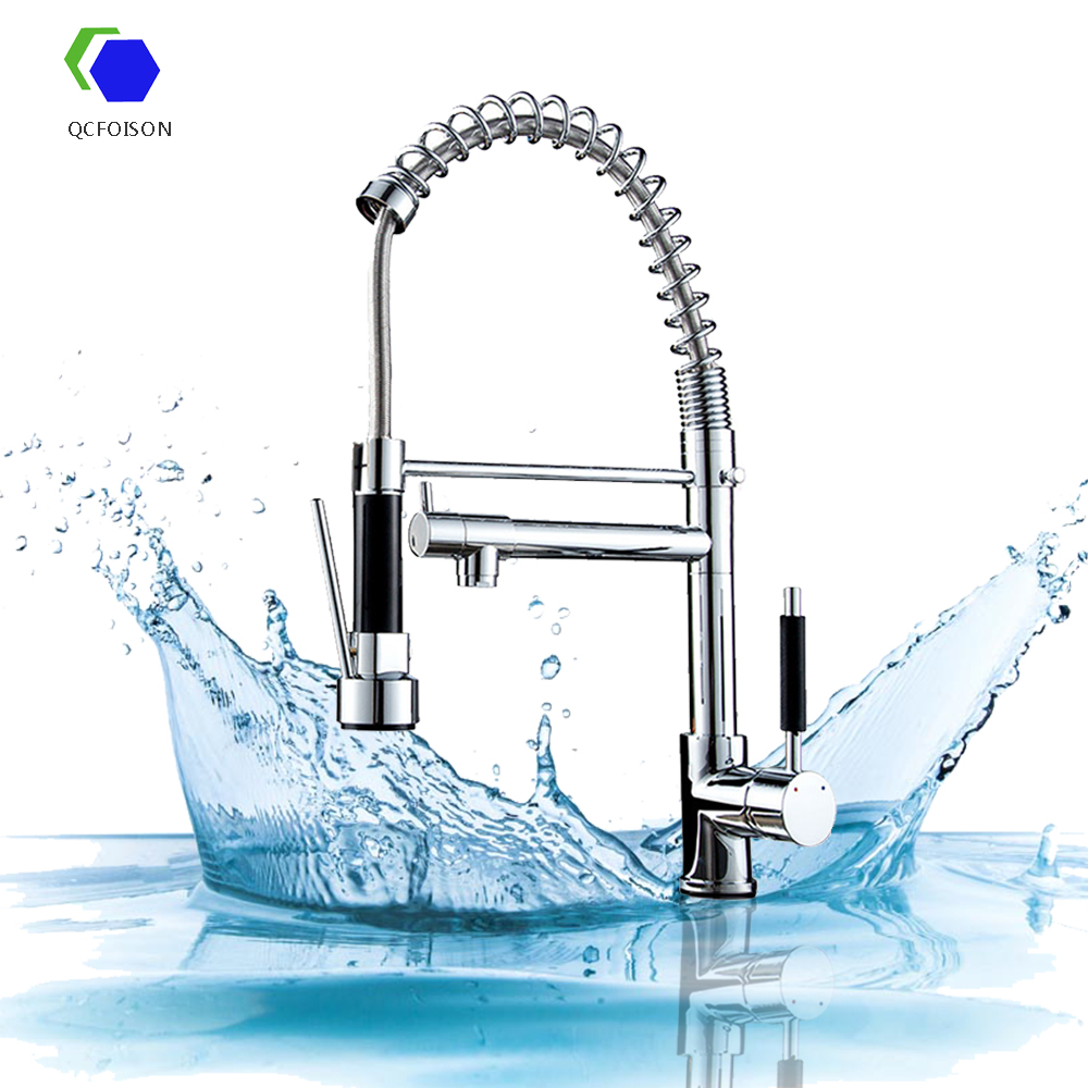 QCFOISON white brass kitchen tap sink hot cold water mixer faucets copper white gourmet kitchen mixer faucet pull out black(China)