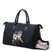 С сумкой для обуви Вместительная дорожная сумка черный ручной