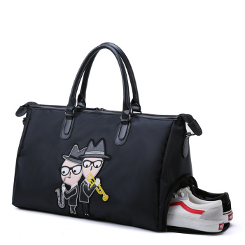 With Shoes bag Large Capacity Travel Bag Black Hand Luggage For Men And Women Cartoon Fashion duffel bag High quality large bag italian design purple shoes and bag sets women shoes and bag set med heel african matching shoes and bag set decorated mm1046