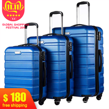 Rolling-Luggage Suitcase Carry On Lock-Spinner Lightweight Business 3piece-Set with High-Strength
