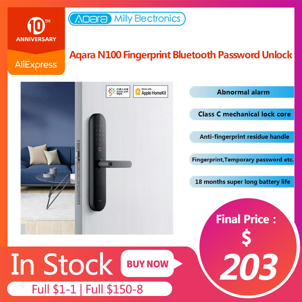 Aqara Smart Door Lock N100 Fingerprint Bluetooth Password Unlock Works With Mijia Apple HomeKit Smart Linkage With Doorbell