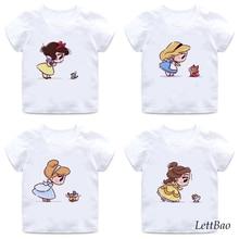 Забавные футболки с принтом Алисы и лисы Модные топы принцессы для маленьких девочек, футболки летняя повседневная детская футболка для девочек возрастом от 2 до 12 лет