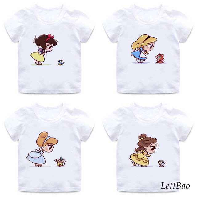 Funny Alice and Fox Print T-shirts Vogue Princess Little Girls Tops T Shirts 2 To 12 Years Summer Casual Kids T-shirt for Girl