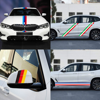 1m* 15cm Three-color Stripe Vinyl Car Sticker Decal Germany Italy French Flag Roof Hood Tape For BMW M3 M5 M6 E46 E92 Series image