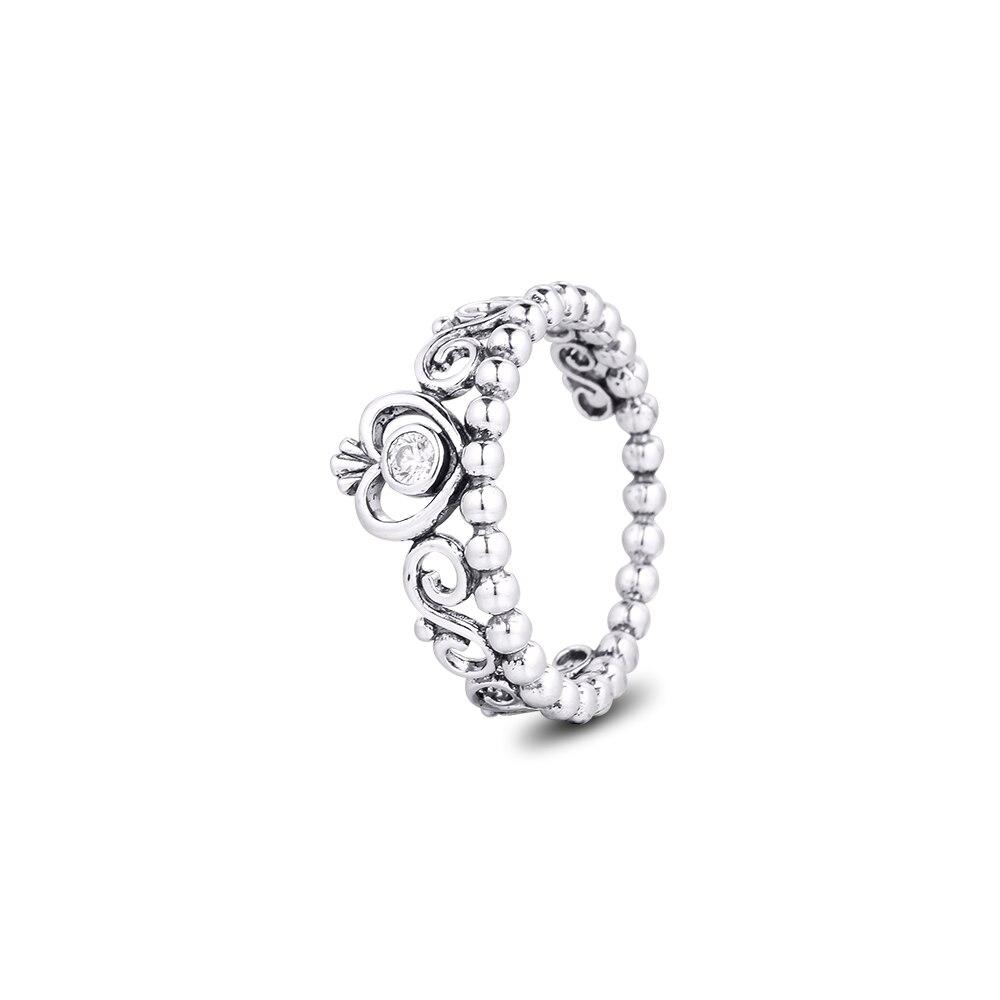 Настоящее Стерлинговое Серебро 925 пробы, кольца с короной принцессы для женщин, обручальное кольцо для свадьбы, ювелирные украшения, anillos mujer
