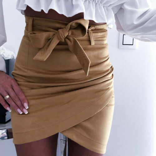 Asymmetric Belt Suede Skirts Women Bodycon Leather Spring Skirts 2019 New Sexy Streetwear High Waist Bandage Short Skirts Femme