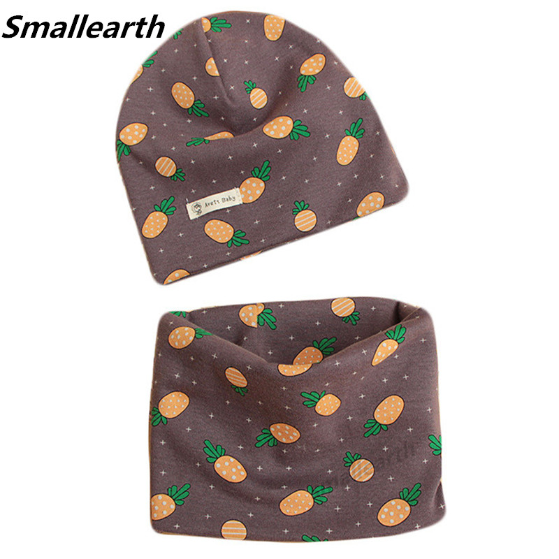 Autumn Winter Cotton Knitted Children's Hat Collar 2pcs/ Set Boys And Girls Hats Scarf Sets Baby Cartoon Scarves Cap Two-pieces