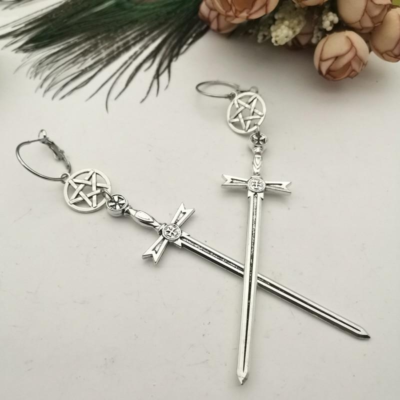 Arthur, серьги, длинный меч, кулон, Готическая классика, модные ювелирные изделия с пентаграммой, темный священный меч, новый женский подарок|Серьги-подвески|   | АлиЭкспресс