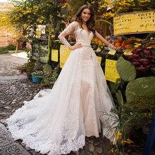 אלגנטי בת ים שמלות כלה עם אגלי קריסטל נתיק רכבת Vestido דה Noiva Sereia תחרה טול 2 ב 1 חתונת שמלות