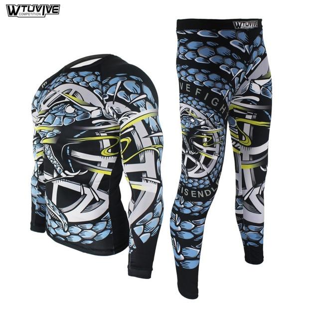 WTUVIVE Boxing Set Compression Jersey+Pants Battle Rashguard KickBoxing Tight Long T-Shirts Trousers Muay Thai MMA Fightwear