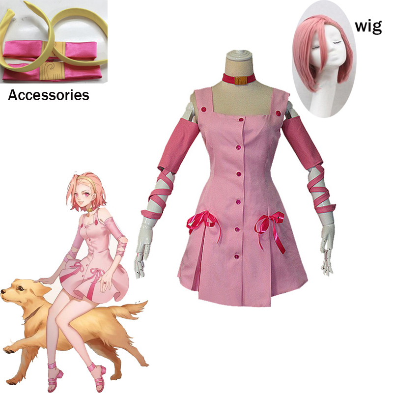 2020 Anime JoJo Sugimoto Reimi Bizarre Adventure movie Cosplay Costume pink dress with accessory for Halloween Carnival Wig image