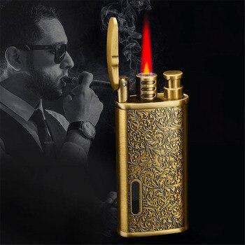Red Flame Fire Lighter Butane Torch Lighter Metal Lighter Mini Turbine Lighter Metal engraving Smoking Accessories Cigar Lighter фото