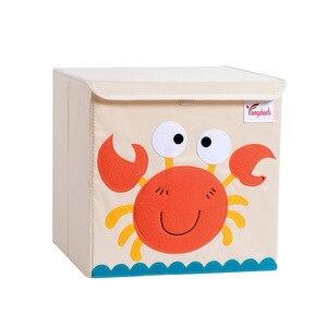 Image 5 - Nowy Cartoon haft ze wzorem zwierzęcia składany schowek myte Oxford tkaniny torba do przechowywania w szafie zabawki dla dzieci