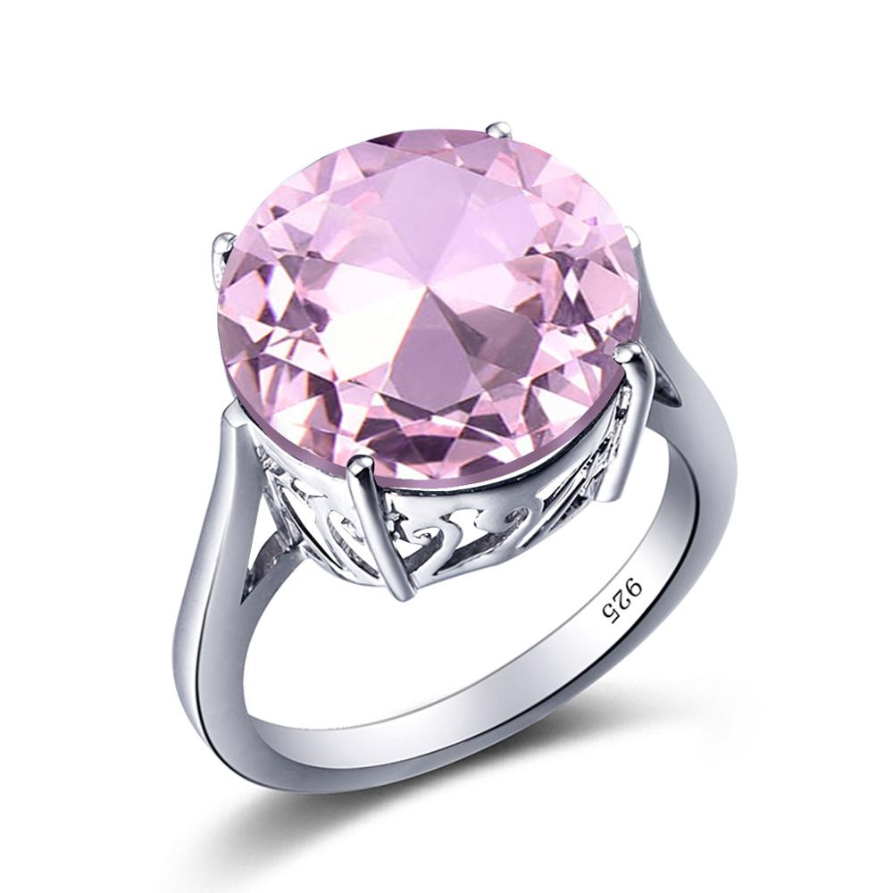 Szjinao Pink Crystal Ring Pure Silver Rings For Women Silver 925 jewelry Round Gemstone Cute Romantic Genuine Female Jewellery