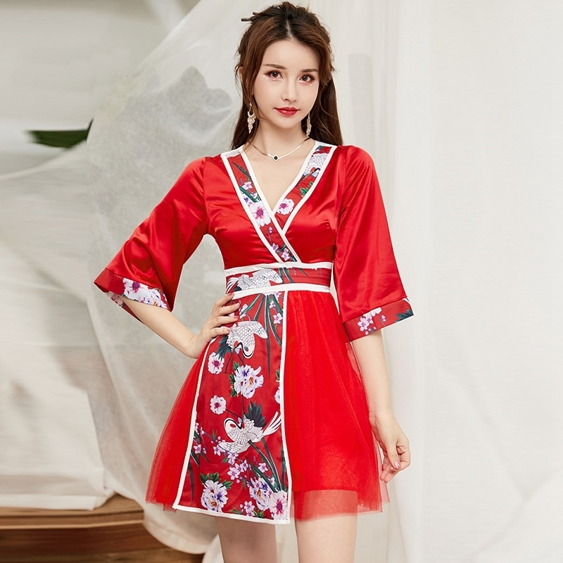 Japanese Kimono Traditional Women Sexy Dress Japan Clothes Women Haori Yukata Cosplay Japanese Kimono Geisha Costume FF2398
