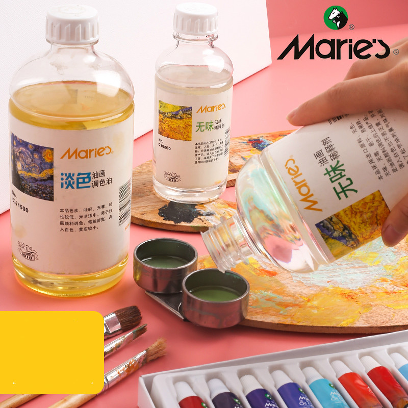Marie's Oil Painting Toner Flavorless Turpentine Dilutant Pigment Brush Wash 200/ 500ML Oil Painting Material Tool