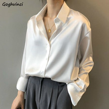 Blouses Shirts Women Autumn Office Lady Chiffon Solid Long Sleeve Turn-down Collar Simple Elegant Breathable Loose Comfortable