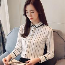 Korean Fashion Women Stripe Blouses Shirt Elegant Chiffon Plus Size XXL Womens Tops and Blusas Mujer De Moda