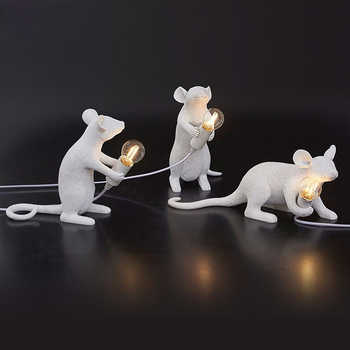 Postmodern Resin Rat Mouse Table Lamp Small Cute LED Night Lights Home Decor Desk Lights Creative Desk Lamps Bedside Gift Decor - Category 🛒 Lights & Lighting