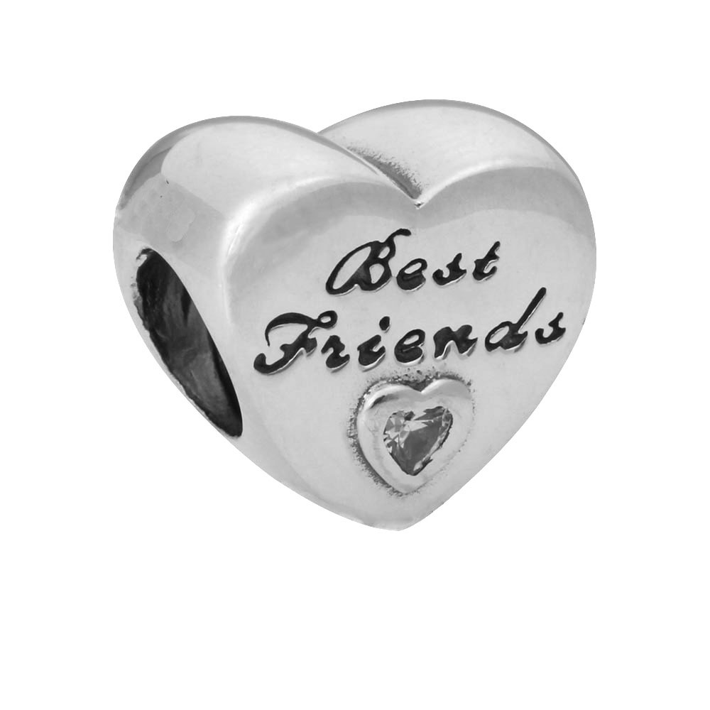 New Silver Plated Bead Charm Best Friend Love Heart With Crystal Beads fit Pandora Bracelet Bangle DIY Jewelry HKA0200 image