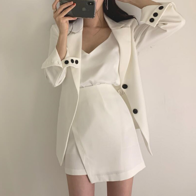 LANMREM White Long Sleeve Single-breasted Dew Waist Blazer Cross Irregular Skirt Woman Suit Simple Fashion 2019 Autumn New TD251