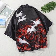 Kimono Cardigan Japanese Style Men Women Samurai Haori Clothing Crane Print Traditional Vintage Yukata Asian Clothes Women(China)