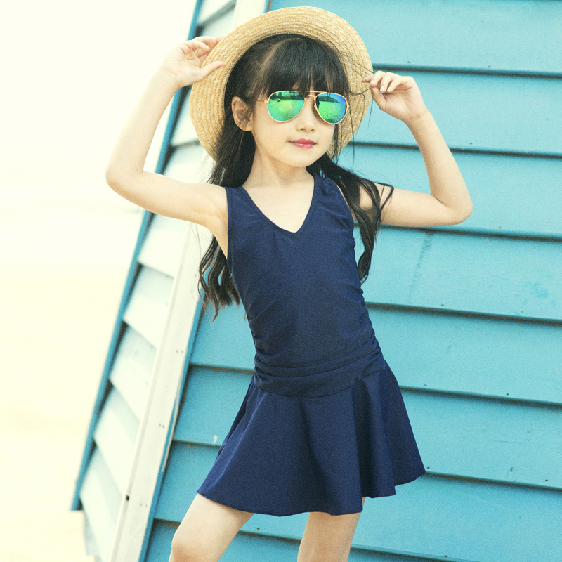 Children Dress-Bathing Suit Small Middle And Large Baby Girls Cute Fashion One-piece Skirt Hot Springs Swimwear Multi-color Sele