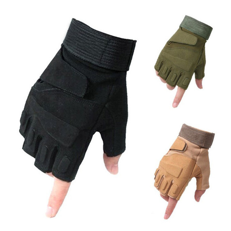 Outdoor Sports Mountaineering Riding Tactical Gloves Mens Half Finger Wear-Resistant Cut-Proof Hand Army Fan Gloves Rekawiczki