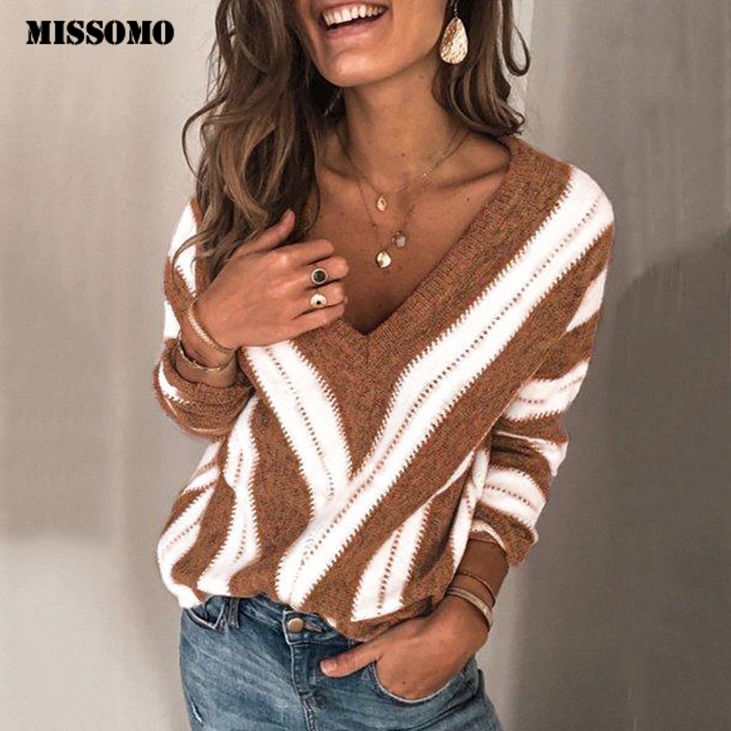 MISSOMO Loose Autumn Winter Sweater Women Pullover Sweaters Jumper Long Sleeve V Neck Striped Knitted Sweater Knitwear Pull 10